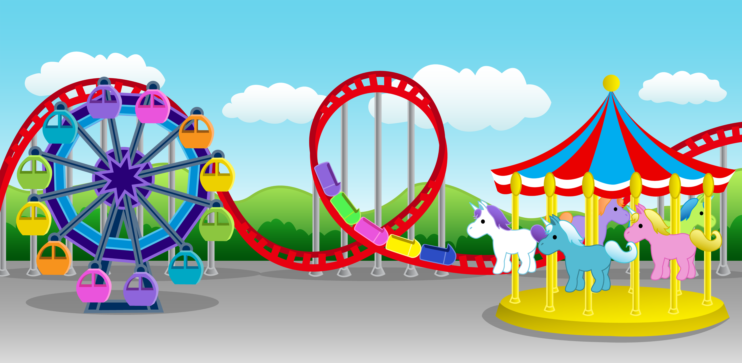 Cartoon Carnival Rides for Pinterest
