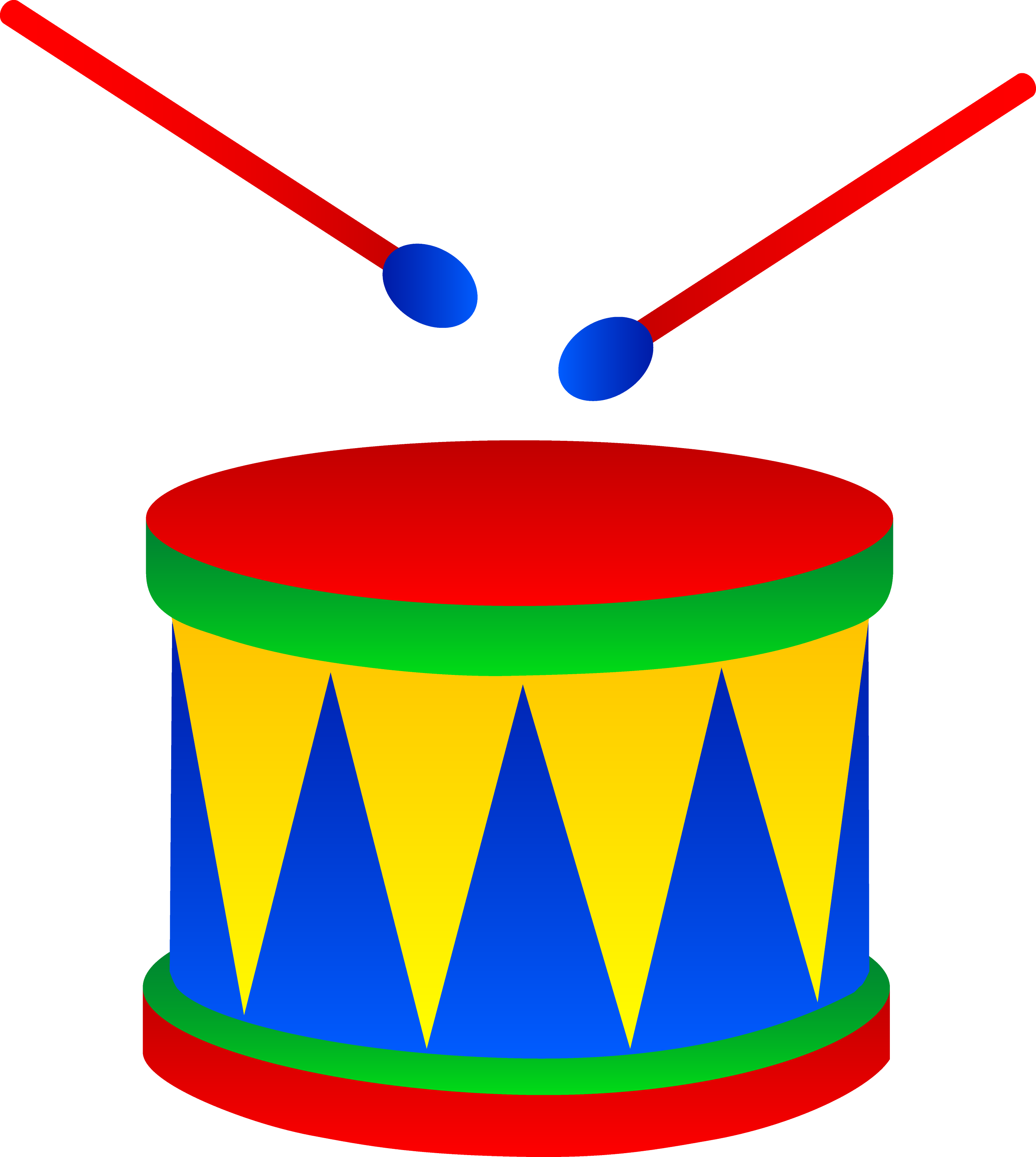 Marching Drum With Drumsticks - Free Clip Art