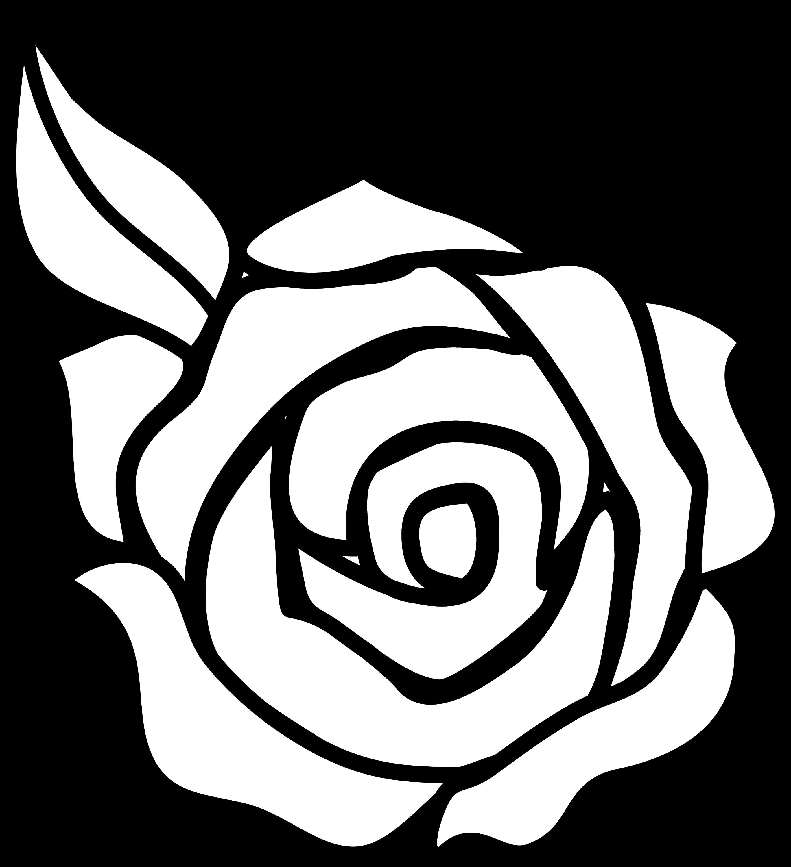 Colorable Rose Line Art - Free Clip Art