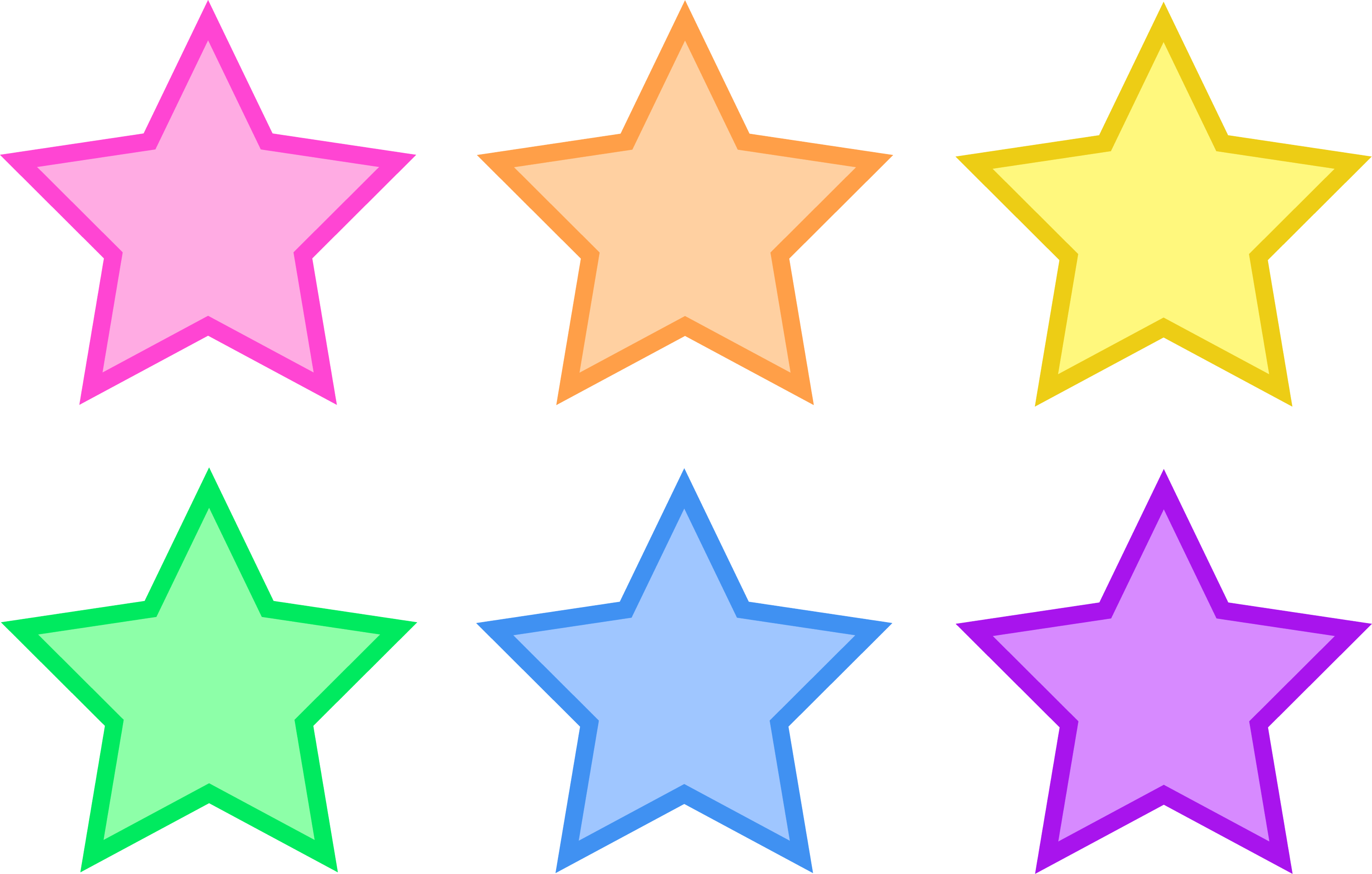 Set Of Six Pastel Stars